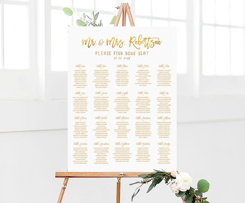 Wedding decorations Seating chart Gold seating chart Table Seating Chart Wedding Seating Chart Wedding seating chart alphabetical
