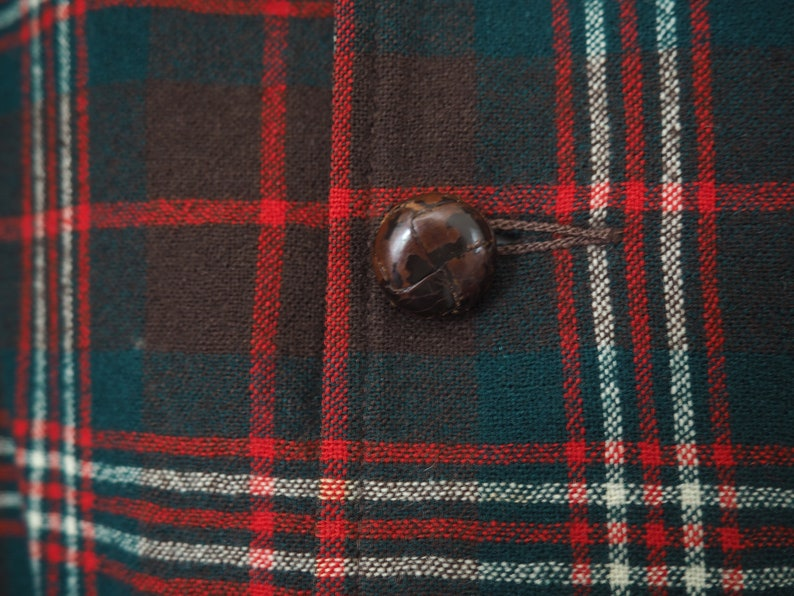 1960/'s Pendleton Virgin Wool Plaid Blazer w Leather Buttons Made in USA Size Medium