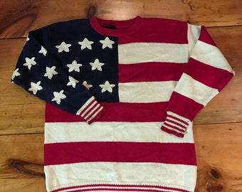 American Patriotic Knit Sweater - Possibly Handmade - Large - 1980's