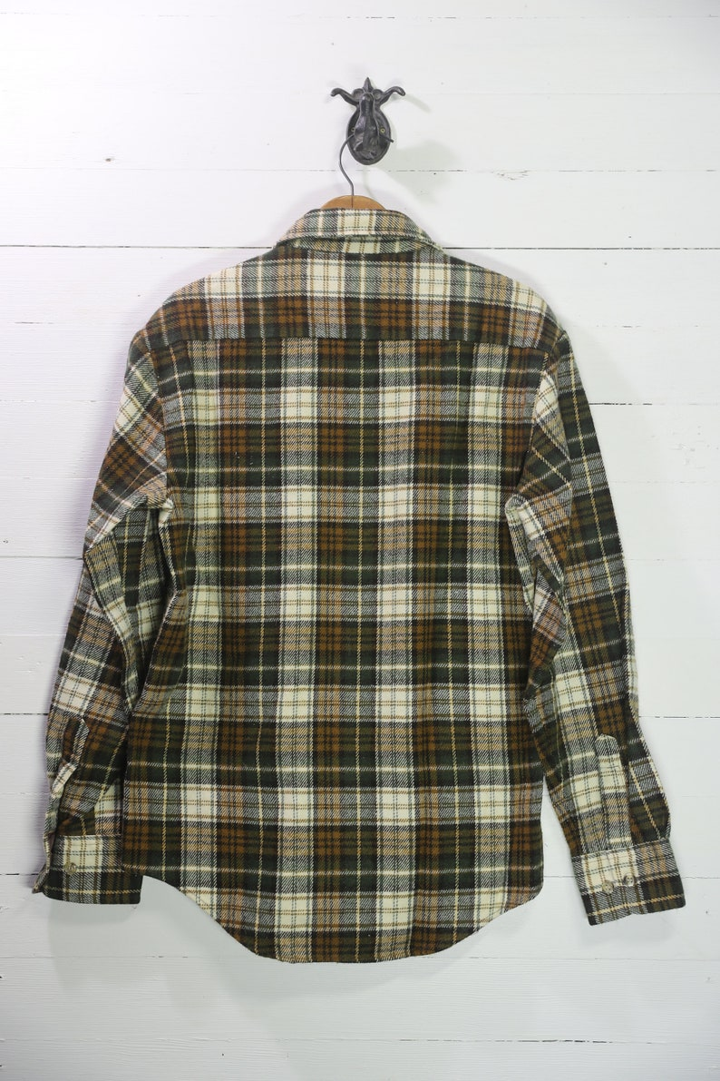 Medium Vintage 1970/'s Mike/'s Place Brown /& Yellow Flannel Button Down Shirt
