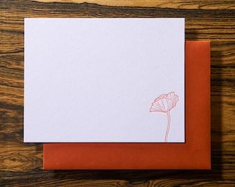 Poppy Flower - Letterpress Stationery Note