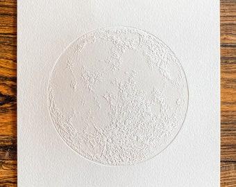 Full Moon Lunar Print - Letterpress Art 8x8 Holiday Gift