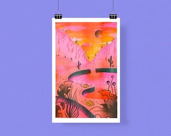 Bubblegum Valley Risograph Print