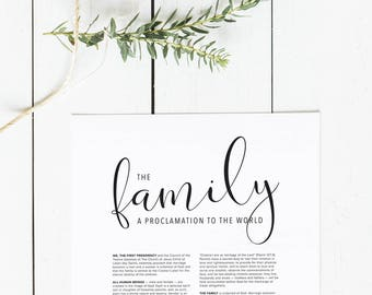 picture regarding The Family a Proclamation to the World Free Printable identified as The Household: A Proclamation in the direction of the Planet LDS Printable Etsy
