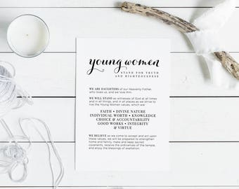 Young Women Theme | LDS Printable Digital Download YW Theme Print | Latter Day Saints LDS Young Women Artwork | Young Womens Printable