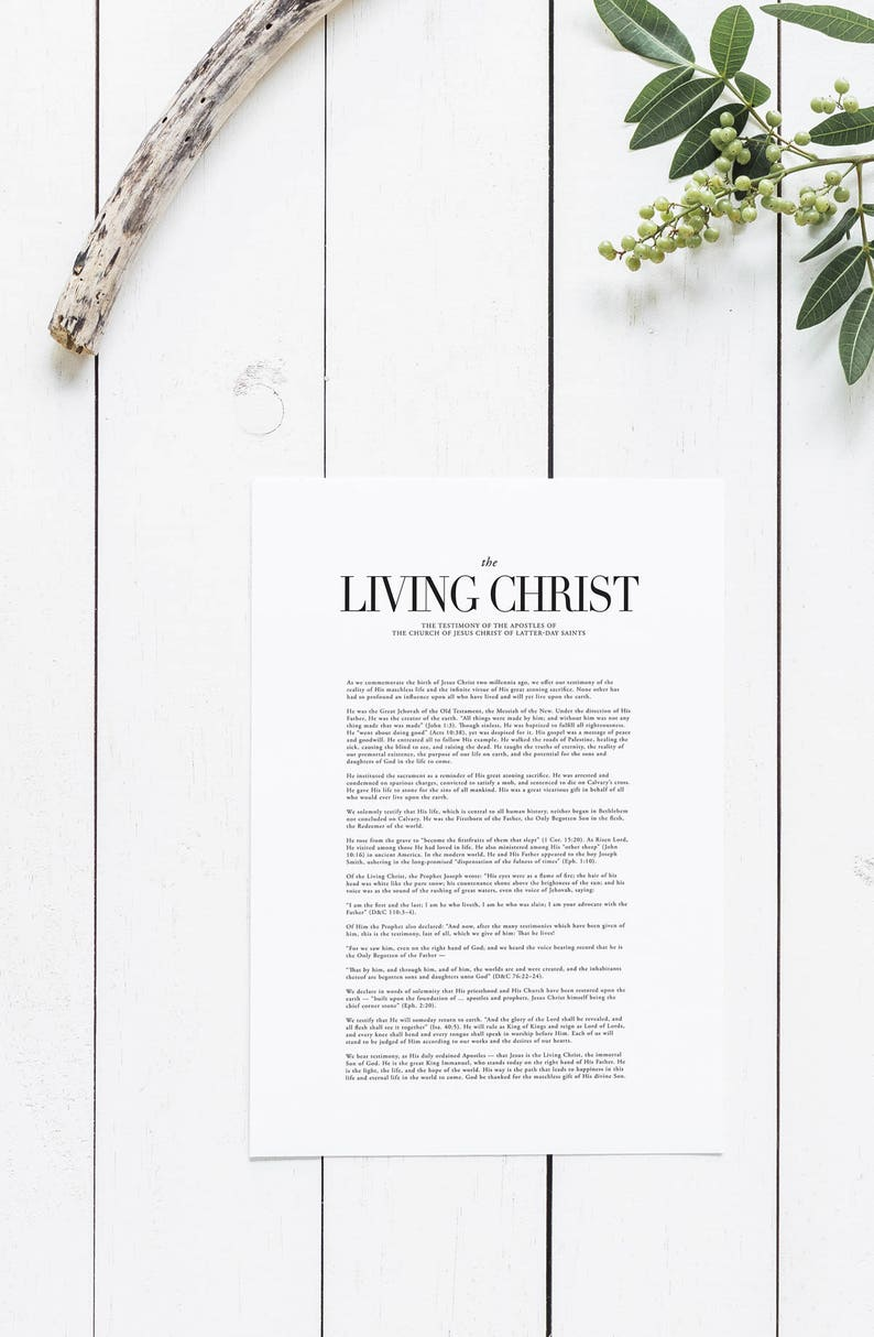 image regarding The Living Christ Free Printable called The Dwelling Christ: The Testimony of the Apostles LDS Printable Electronic Down load Residing Christ Print Latter Working day Saints LDS Art