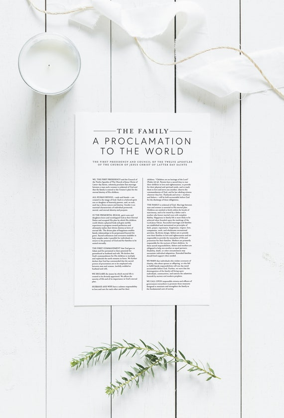 graphic regarding The Family a Proclamation to the World Printable identify The Family members: A Proclamation in direction of the World wide Electronic Down load Household Proclamation Significant Printable LDS Family members Proclamation Print