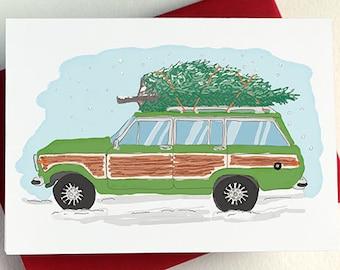 Christmas Tree Station Wagon Card