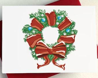 Snowy Christmas Wreath Card