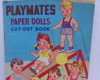 Original Playmates Paper Dolls Cut Out Book , 1940's Antique Paperdoll Book , Samuel Lowe Company Punch Out Book , Cut-Out Book , Kid's Book