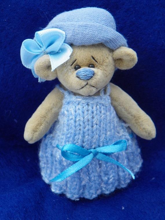 Dollhouse Tiny Country Blue Teddy Bear World of Miniature Bears