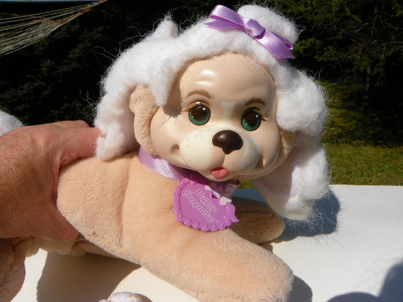 Mama and Babies Beige Dog with 2 Puppies Stuffed Toy Dog 1991 Hasbro Puppy Surprise Plush Dog with Puppies Vintage Soft Toy