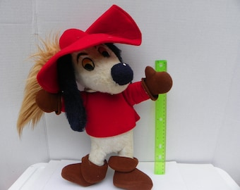 Extremely Rare 1980's Dogtanian Plush Toy - Dogtanian and the Three Muskehounds Show , Cartoon Toy Dog Stuffed Animal , 3 Musketeers TV Show