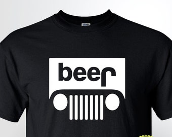 2e57c29a7 Beer Jeep Logo Parody Drinking Graphic T-Shirt Funny Parody Tee Novelty