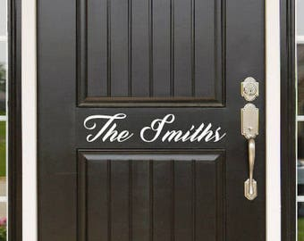 Personalized Family Name Front Door Vinyl Decal Greeting 307