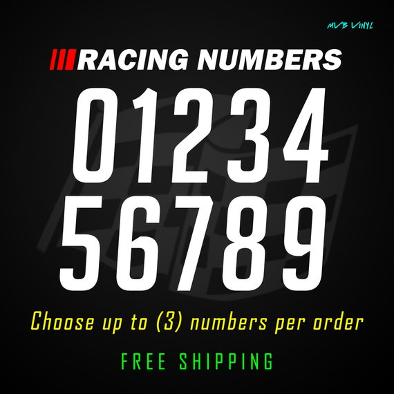 Racing Numbers Vinyl Decal StickerDirt Bike Plate Number BMX Competition