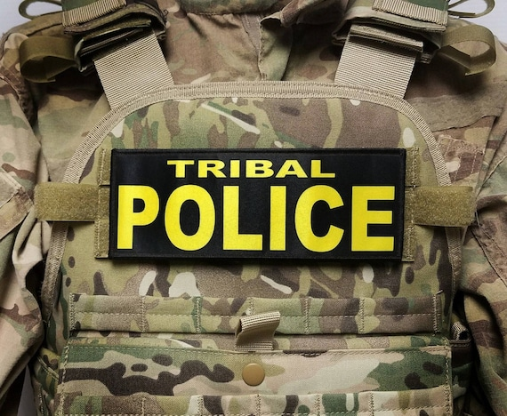 TRIBAL POLICE Bright Yellow on OD Green 3X8 Hook  Morale Patch for Plate Carrier