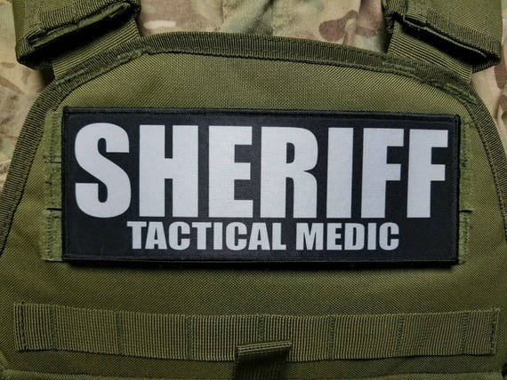 3x8 SHERIFF White on OD Green Morale Plate Carrier Raid Patch SWAT Hook Backed