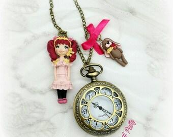Collana orologio con dollina e coniglio