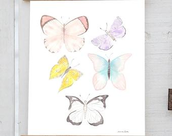 Butterfly Watercolor Print, Pretty Butterflies, Colorful Butterflies