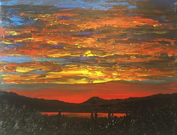 Sunset Paintings/Desert Painting/Cactus Paintings
