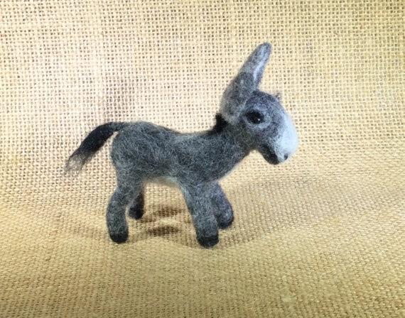 Felted Animals/Miniature Animals/Donkey/Felting Art