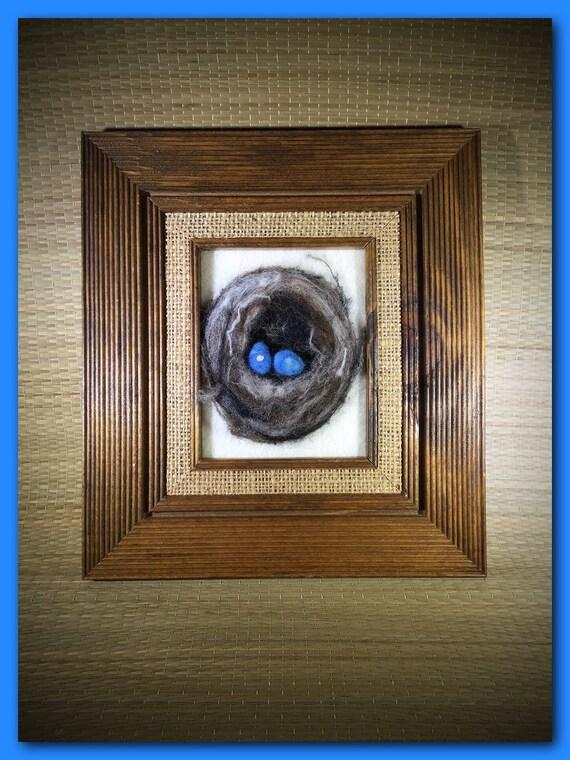 Bird Nest/Felt Painting/Felt Bird Nest/Farm House Decor