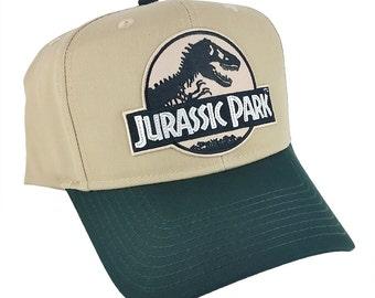 a64126816ef52 Jurassic Park Movie Desert Logo Patch Khaki Green Snapback Cap Hat