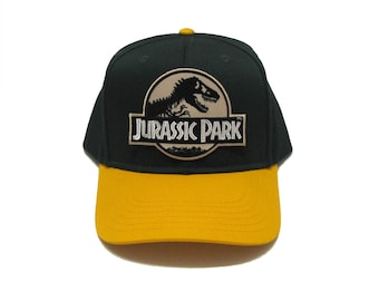 699699e26 Jurassic Park Movie Desert Logo Patch Khaki Green Snapback Cap | Etsy