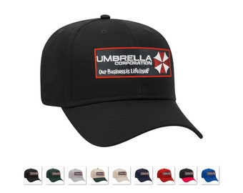 e8232858e042a Umbrella Corporation Resident Evil Logo our business is life it self iron  on movie patch baseball adjustable caps hats