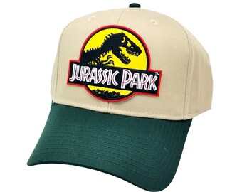 Jurassic Park Movie Yellow Logo Patch Green Khaki Snapback Cap Hat ed55698379e