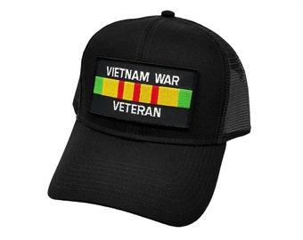aff296ceaede1c Vietnam War Veteran Ribbon Military Patch Trucker Mesh Snapback Baseball Cap  Hat by Project T