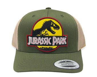 f57316bdb3e83 Jurassic Park Yellow Desert Movie Patch Retro Mesh Trucker Moss Khaki Cap  Hat
