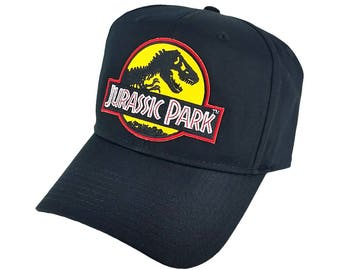 527b21f9f71 Jurassic Park Movie Logo Yellow Patch Baseball Adjustable Black Cap Hat