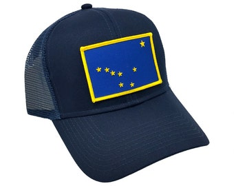c78d02a8f84 Alaska US State Flag Patch Trucker Adjustable Snap Baseball Cap Hat