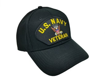 45a3d06c36906 US Navy Veteran Patched Baseball Adjustable Snapback Cap Hat