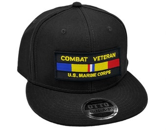 a804a28649111 Combat Veteran US Marine Corps Military Patch Flat Bill Snapback Baseball  Cap