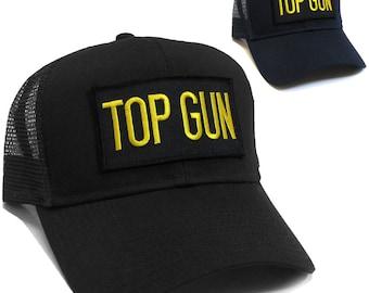 Top gun Letter Patch Baseball Mesh Snapback Navy or Black Cap Hat 20a692a1e6df
