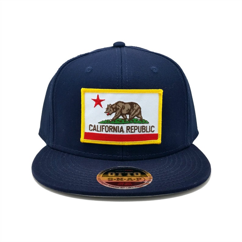 8dd3f3ce884 California Republic US State Flag Patch Flat Bill Snapback