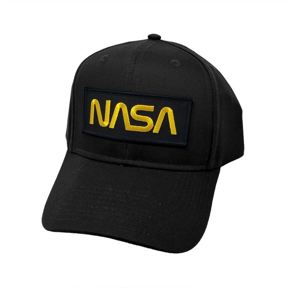 Nasa Gold Letter Black Military Patch Snapback Adjustable Cap  655ca4f03f6