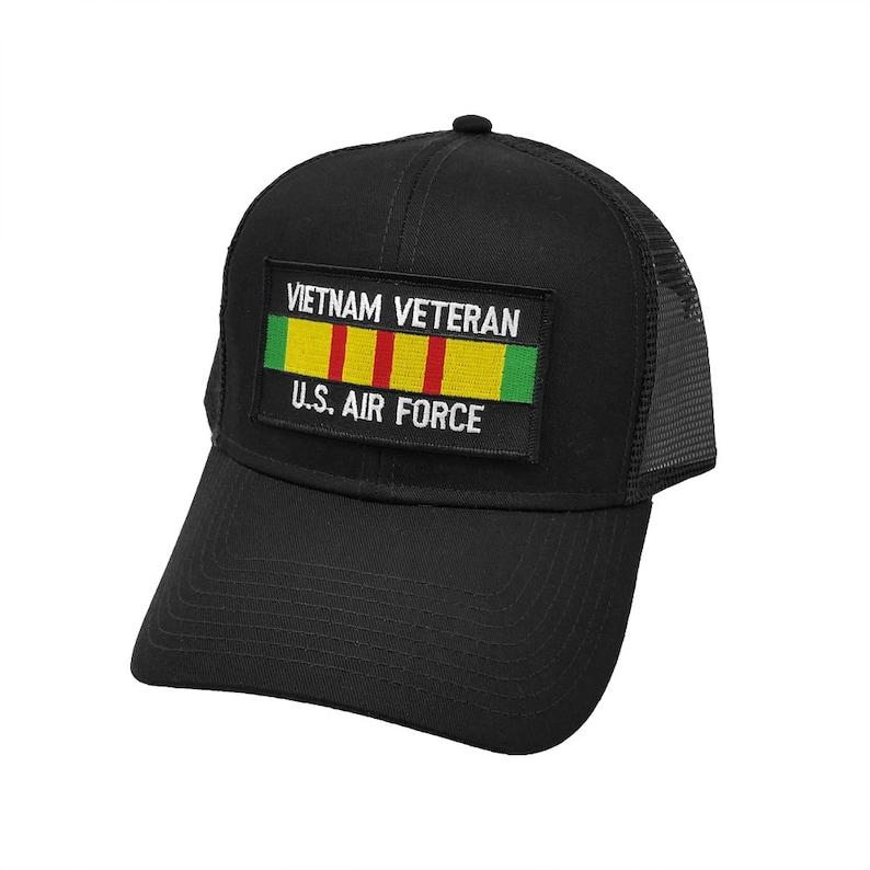 51f7a6424 Vietnam Veteran US Air Force Patch Trucker Mesh Back Snapback Baseball Cap  by Project T