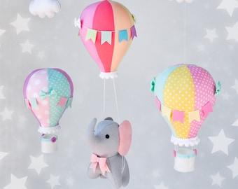 Elephant baby mobile, rainbow baby mobile, hot air balloon mobile, balloon mobile, mobile crib, elephant balloon mobile, rainbow balloons