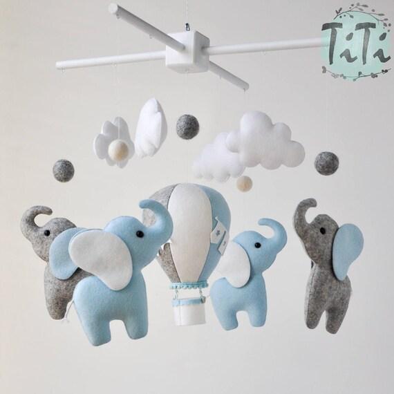 Bebé elefante personalizada móvil fieltro móvil del bebé | Etsy