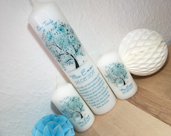 """Baptismal candle """"Tree of Life"""" in turquoise-mint without ribbon"""