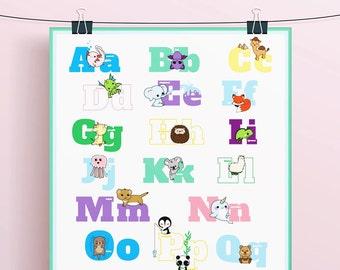 Animal Alphabet Poster or Decals // Download + Print