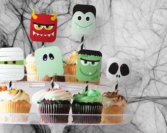 Cupcake Toppers // Halloween Monster Bash // Customizable Downloadable + Printable