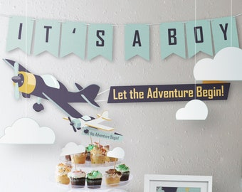 Airplane Pilot Baby Shower Party Kit // Downloadable + Printable