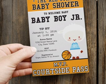 All-Star Basketball + Lamb Baby Shower Invitation // Custom Printable + Downloadable
