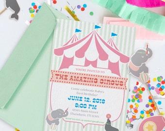 Pastel Circus Party Theme // Customizable Invitation // Downloadable + Printable