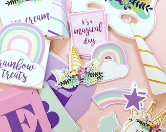 Pastel Rainbow Unicorn Theme // Party Kit // Downloadable + Printable